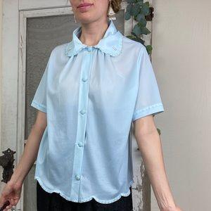 Vintage Blue Button Front Lace Trim Nightgown top